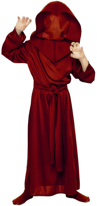 Grim Reaper Red Robe Death Executioner Hood kids boys Halloween costume - Large