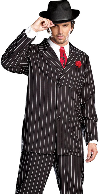 Gangster Mens Adult Halloween Pinstripe Costume  XL