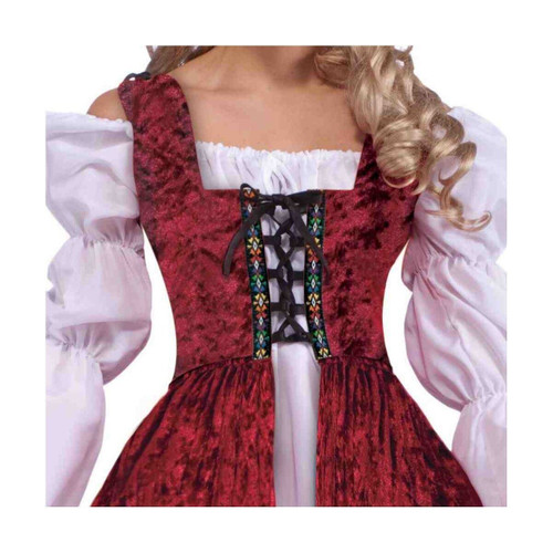 Medieval Lace-Up Robe Renaissance Maiden Wench Costume Halloween Fancy Dress