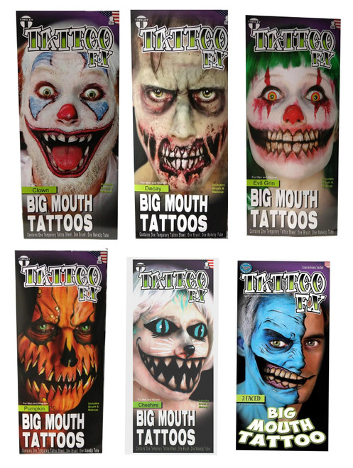 Temporary Tattoo Big Mouth FX Black Makeup And Brush Tinsley Transfers