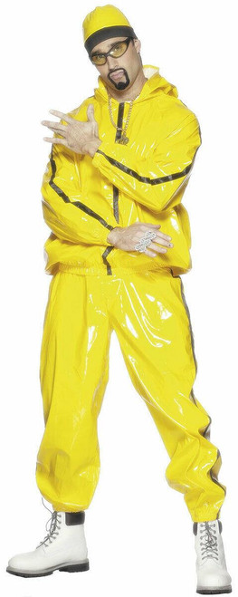 Smiffys Men's Rapper Suit PVC with Hooded Jacket Trousers and Hat