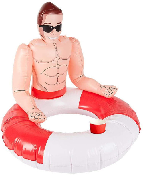 Inflatable Lifeguard Hunk Swim Ring, Red & White