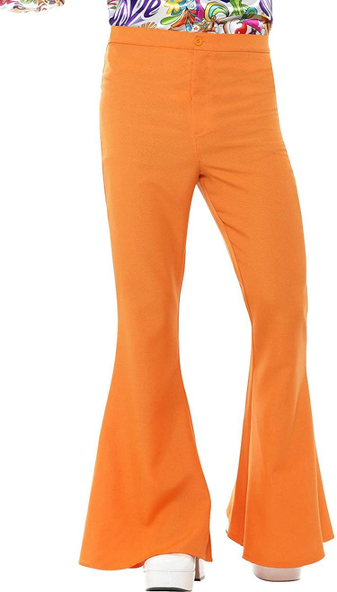 Men's 70s Groovy Disco Fever Flared Orange Pants Costume X-Large 46-48