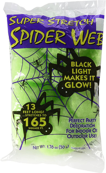 Outdoor/Indoor Super Stretch Black Light Glowing Spider Web - 13 Feet Long Covers 165 sq ft - Halloween Decor