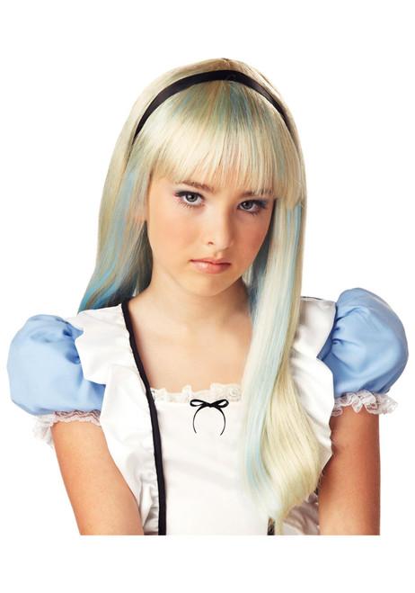 Alice In Wonderland Blonde & Blue Wig for Child