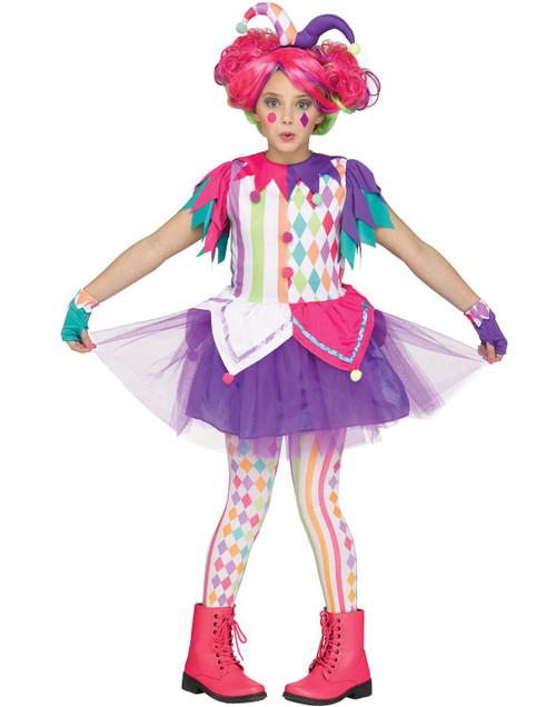Colorful Harlequin Clown Court Jester Girls Halloween Costume