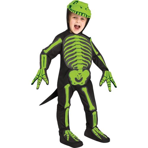 Toddler Boy Childs Green Dino-bones Dinosaur Skeleton Jumpsuit Halloween Costume