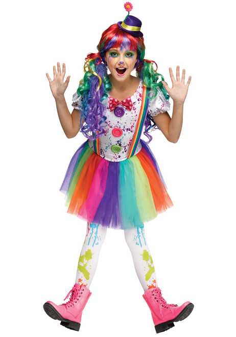 Fun World Girls Crazy Color Clown Fancy dress costume
