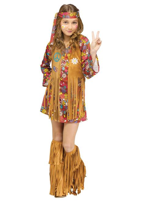 Fun World Girl's Peace & Love 60s Hippie Halloween Costume