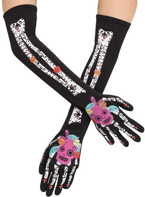 Day Of The Dead Skeleton Costume Opera Gloves Teen/Adult Women