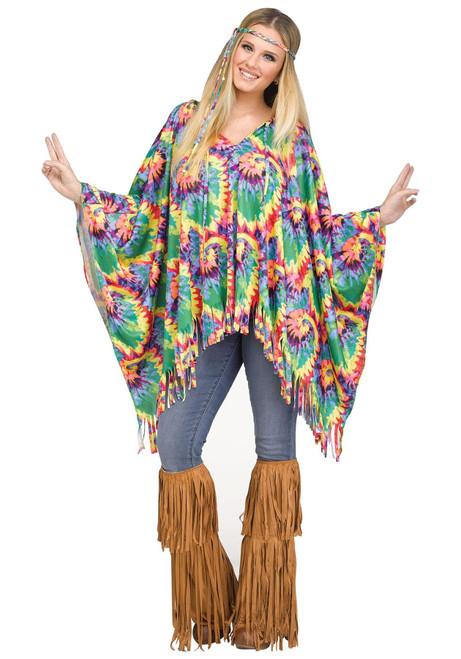 Fun World FW90421 Adult Tie Dye Hippie Poncho - Size 4-14