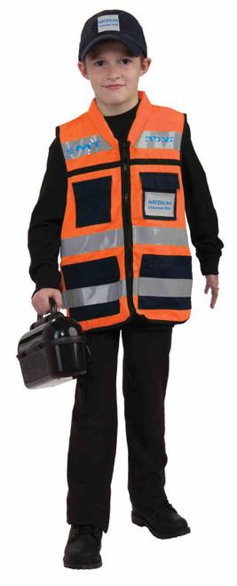 Hatzolah Set Vest Child Costume Volunteer Rescue Ems One Size Girl Boy Orange
