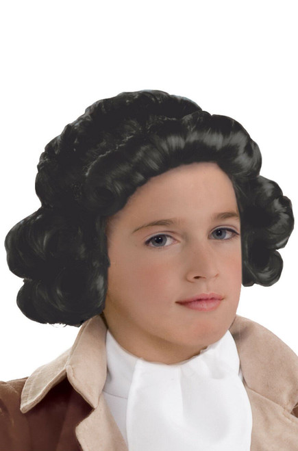 Child colonial boy george washington costume wig - black