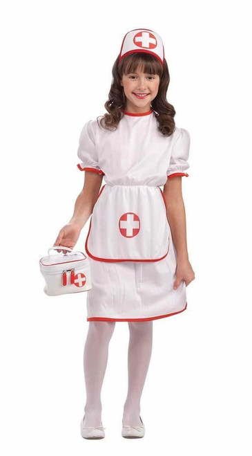 Nurse Costume Girls Dress & Headpiece Large
