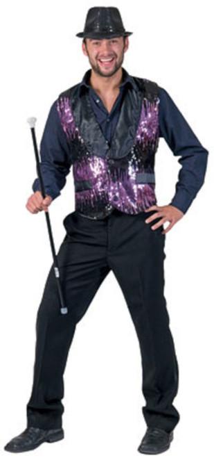 Purple Sequin Vest Men's Costume
