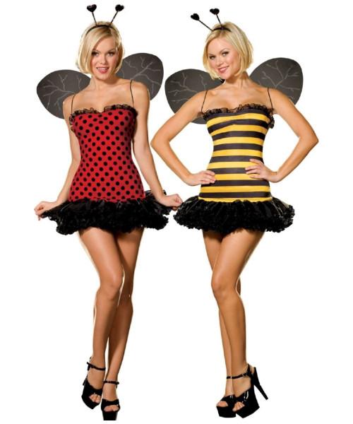 LADYBUG lady bug BUMBLE BEE bumblebee reversible womens sexy costume XS