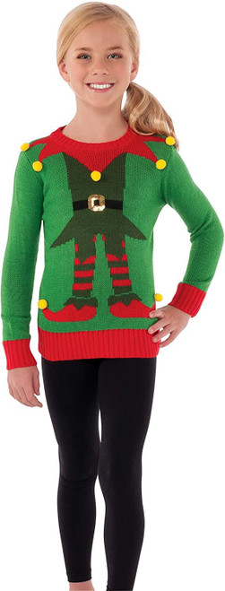 Rubies Costume R620256 Childrens Elf Christmas Sweater Costume For Kids