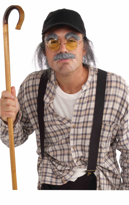 Old Man Kit Hat With Attached Grey Hair Moustache Eyebrows Glasses Funny Adult