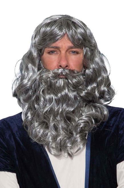 Biblical Abraham Moses Grey Adult Wig & Beard Set Costume Accessory