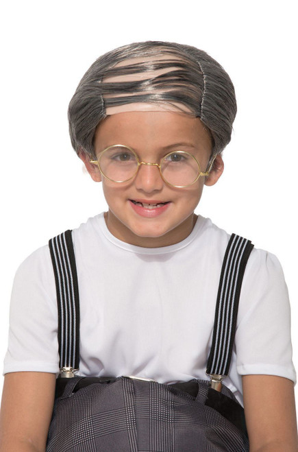 Child Uncle Bert Old Man Funny Balding Gray Hair Wig Halloween Costume Accesory
