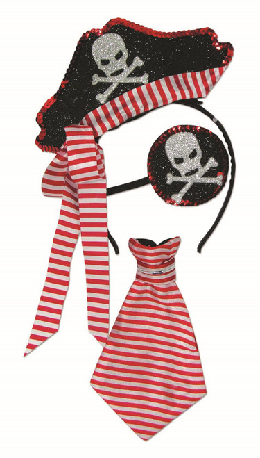 Forum Novelties 79273 Unisex-Adults Pirate Kit, Red, White, Standard, Multicolor