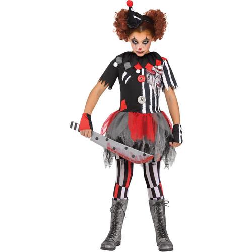 Fun World Girls Evil Clown Sinister Circus Halloween Costume