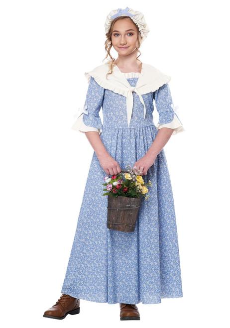 Colonial Village Girl Historical colonial settler thanksgiving mayflower costume XL