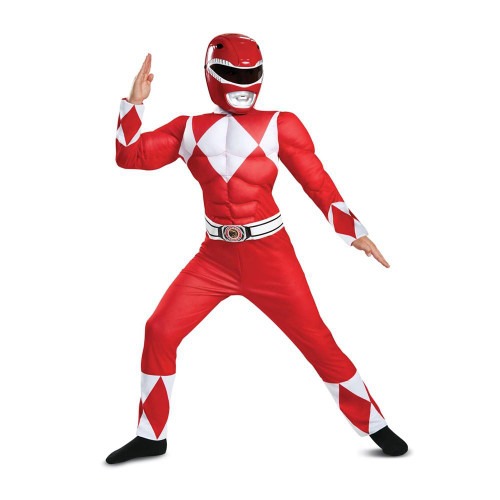 Power Rangers Classic Red Ranger Mighty Morphin Muscle Costume For Kids Small 4-6