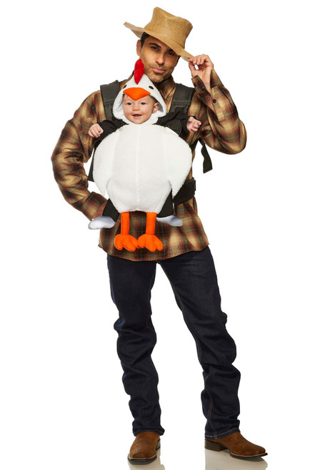 Chicken and Farmer Daddy Mommy & Me Baby Carrier Halloween Costume