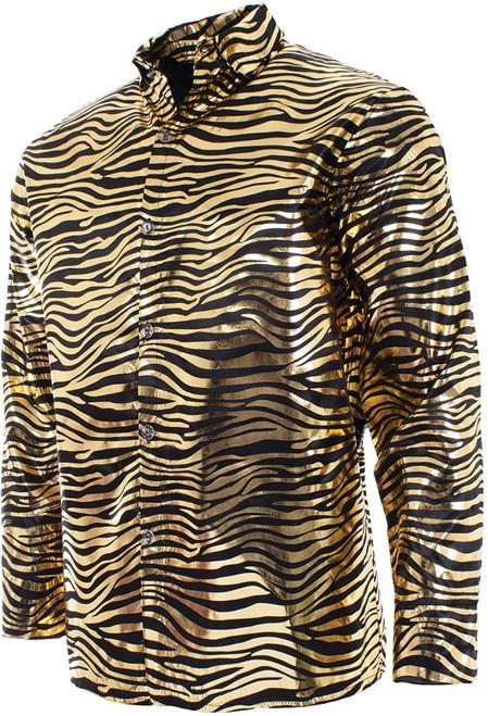 Joe Exotic Mens Adult Series Tiger Stripes Printed Halloween Costume Shirt