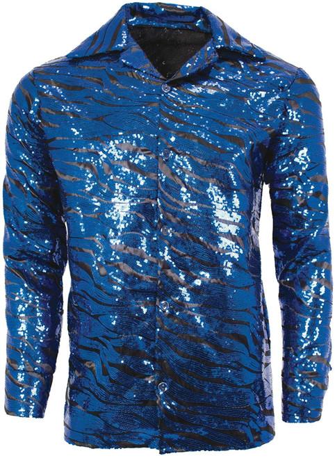 UNDERWRAPS Men's Tiger Disco Shirt Blue Striped