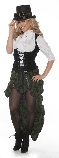 Womens Steampunk Ruffles and Vest Skirt Outfit Costume