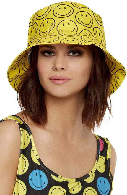Smiffys 52419 Officially Licensed Smiley Printed Bucket Hat, Unisex, Adult, Yellow, One Size