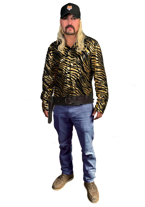 Seeing Red Joe Exotic Tiger Trainer Size L/XL Includes Hat w/ Attached Mullet, Gold Foil Tiger Print Shirt