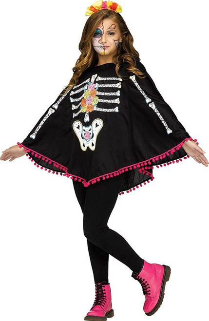 Fun World Girls Day of The Dead Child Poncho Costume One Size Child