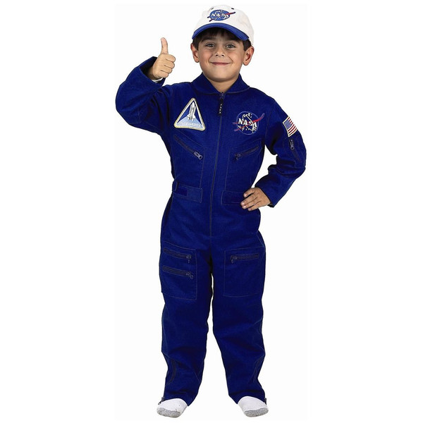 Jr. FLIGHT SUIT NASA blue jumpsuit astronaut kids boys halloween costume 8-10