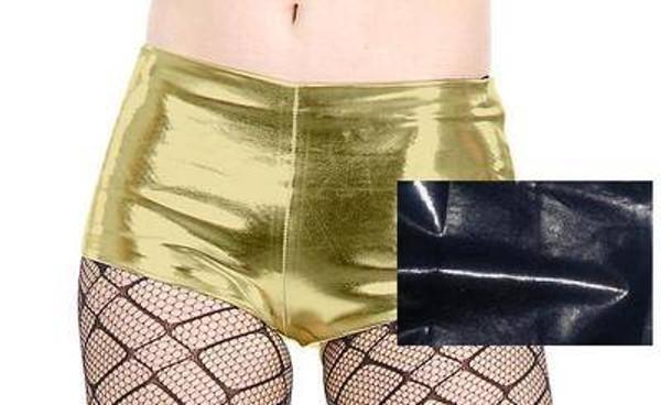 spandex BLACK HOT PANTS liquid metal adult womens sexy halloween costume MEDIUM