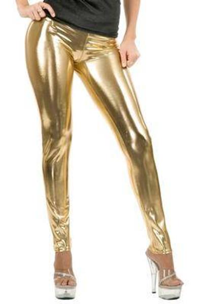 gold LEGGINGS liquid metal adult womens sexy shiny halloween costume MEDIUM
