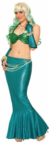 blue Long Mermaid Tail Skirt Adult Costume