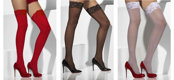 Womens Sheer Hold-Up Pantyhose Lace Tops with Silicone