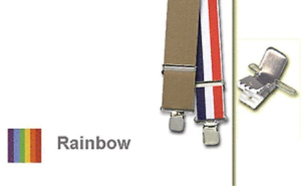 """RAINBOW TERRY SUSPENDERS clown gay parade adult halloween costume red 42"""""""