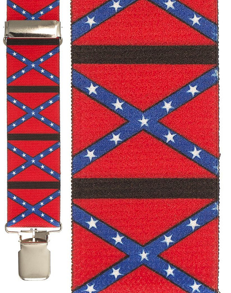 """CONFEDERATE FLAG SUSPENDERS adult mens dixie south army costume accessory 42"""""""