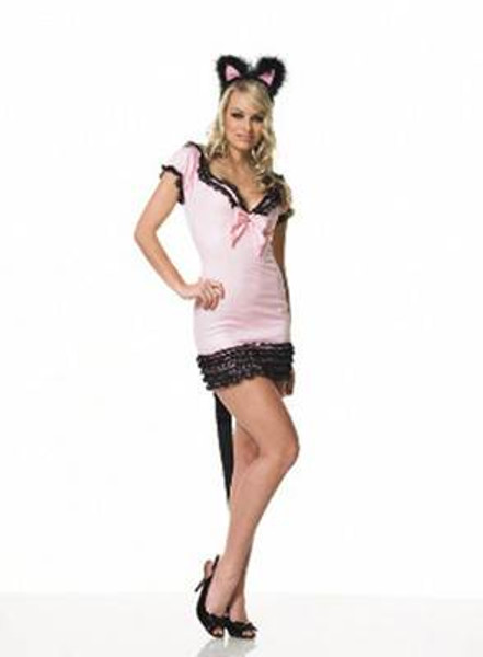 PINK KITTY pussy cat animal sexy adult womens halloween costume M/L