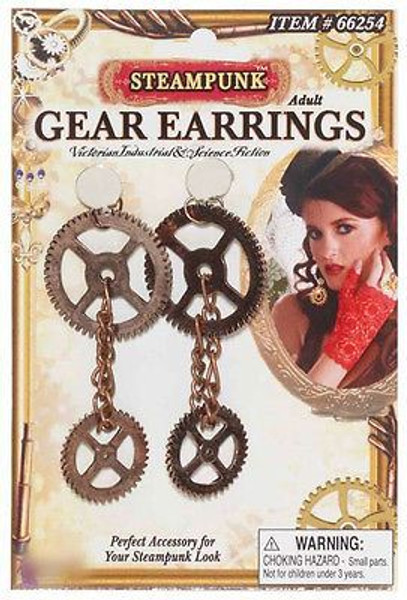 STEAMPUNK GEAR EARRINGS victorian punk industrial jewelry womens costume cosplay