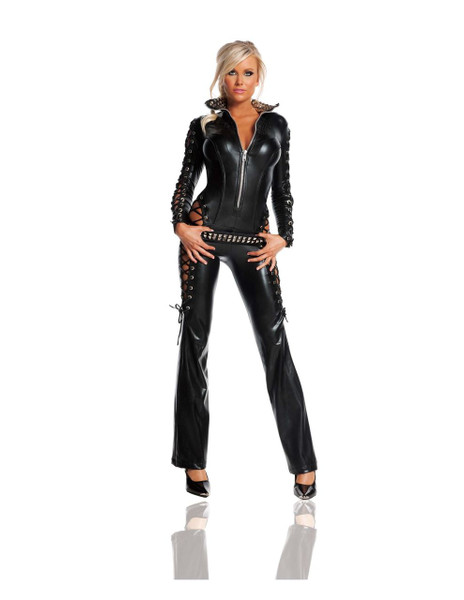 Leather Rebel Jumpsuit Women's Costume