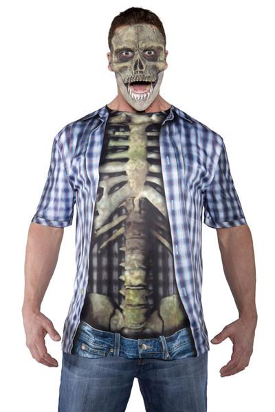 Photo Real Shirt - Skeleton Adult Mens Halloween Costume OS