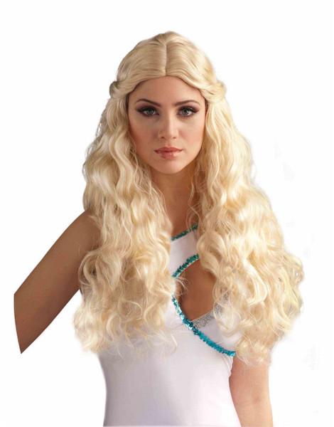 Venus Long Blonde Wavey Waves WIG goddess roman grecian adult womens Halloween costume accessory