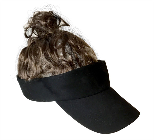 Billy Ray Man Bun Hat Brown Wig Cap red neck mens hillbilly halloween costume