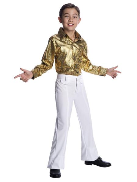 Boys hologram gold disco shirt