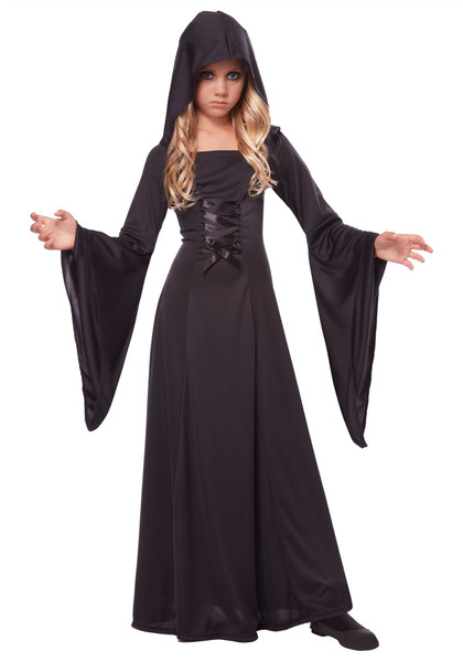 Girl's Deluxe Black Hooded Robe Costume Size
